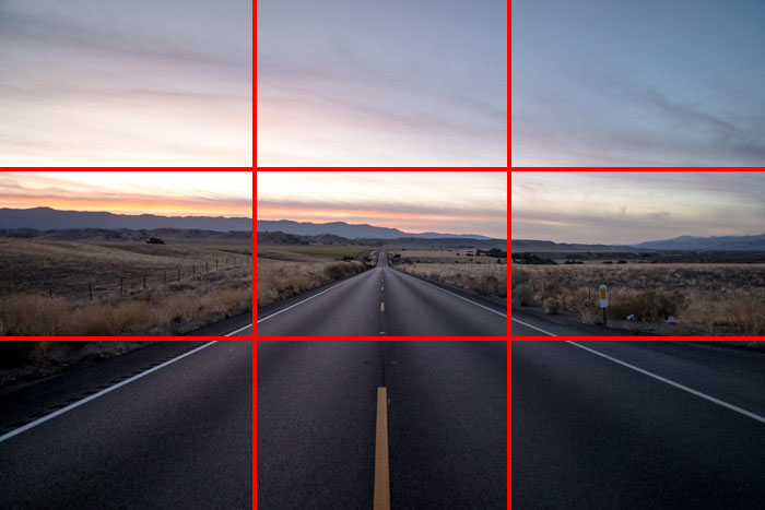Rule of thirds highway with grid - How to shoot video like a pro and make your brand benefit more.